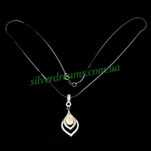 Серебряный кулон-ожерелье с опалом