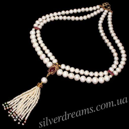 Жемчужно-рубиновое ожерелье
