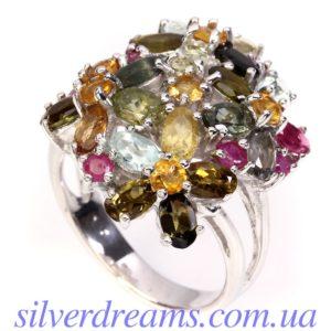 Серебряное кольцо с турмалинами