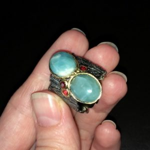 Дизайнерское кольцо с крупным ларимаром