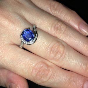 Серебряное кольцо с кианитом