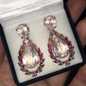 Серьги с розовым кварцем в серебре с позолотой