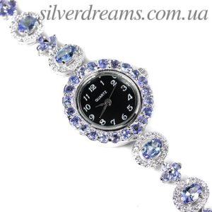 Серебряный браслет-часы с танзанитами