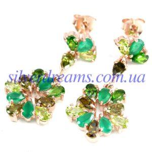 Серебряные серьги с зелёными камнями