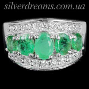 Кольцо с изумрудами в серебре