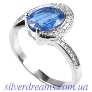Кольцо с кианитом в серебре