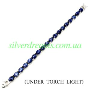 Серебряный браслет со звёздчатыми сапфирами