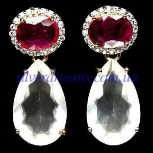 Серебряные серьги Розовый Кварц & Рубин