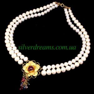 Жемчужное ожерелье с рубином и турмалинами