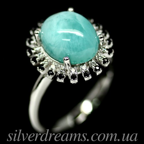 Серебряное кольцо с ларимаром