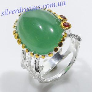 Серебряное кольцо с зелёным агатом