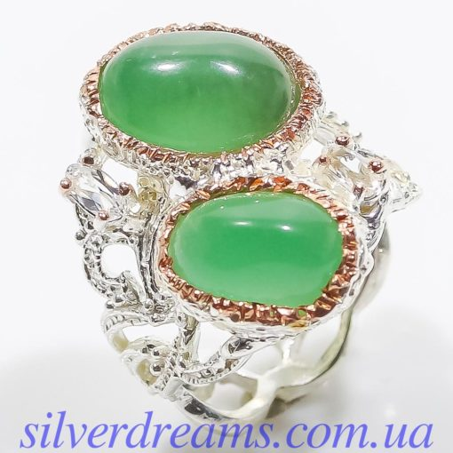 Дизайнерское кольцо с зелёным агатом в серебре
