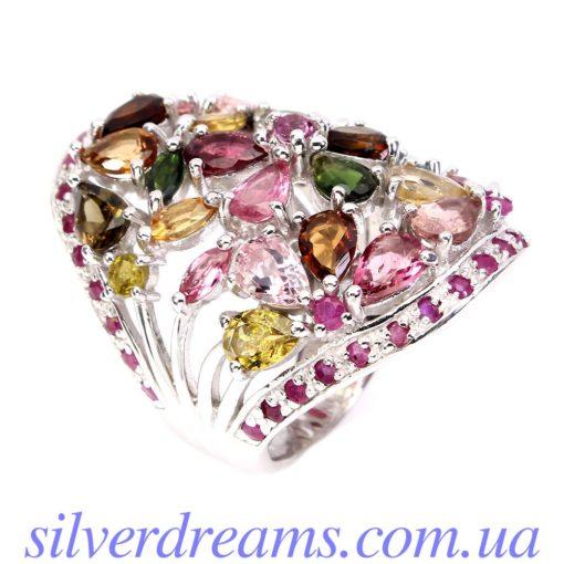 Серебряное кольцо Турмалин-Рубин