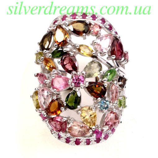 Коктейльное кольцо с турмалином в серебре