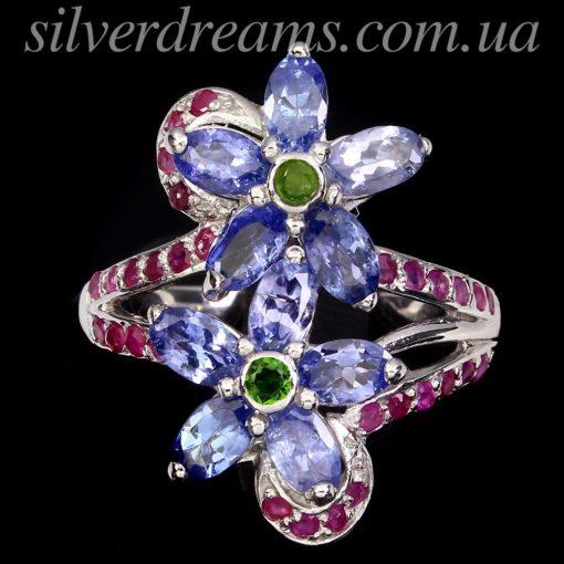 Серебряное кольцо Танзанит-Диопсид-Рубин