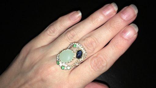 Серебряное кольцо Аквамарин & Звёздчатый Сапфир