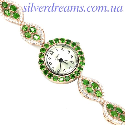 Часы-браслет с диопсидами в серебре с позолотой
