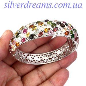 Серебряный браслет-обруч с турмалином
