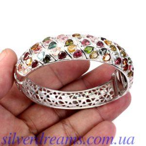 Турмалиновый браслет-обруч в серебре
