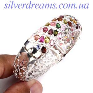 Жёсткий браслет с турмалином в серебре
