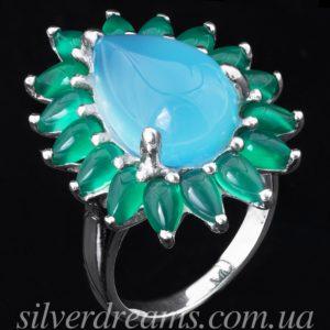 Серебряное кольцо Халцедон-Агат