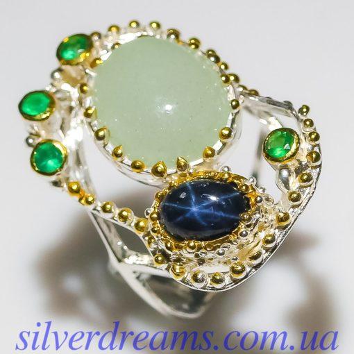 Дизайнерское кольцо с аквамарином и звёздчатым сапфиром