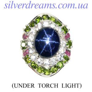 Серебряное кольцо со зёздчатым сапфиром и мульти