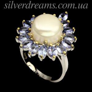 Серебряное кольцо Жемчуг & Танзанит
