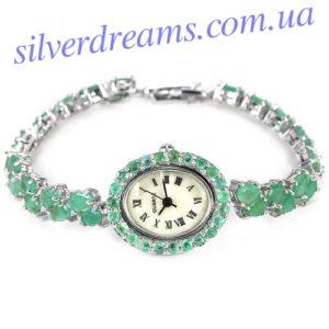 Серебряные часы-браслет с изумрудами