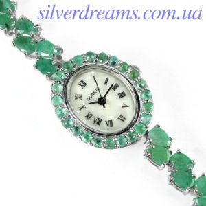 Серебряный браслет-часы с изумрудами