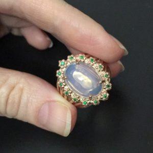 Кольцо с крупным огненным опалом