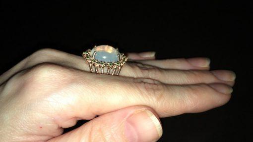 Серебряное кольцо с крупным огненным опалом