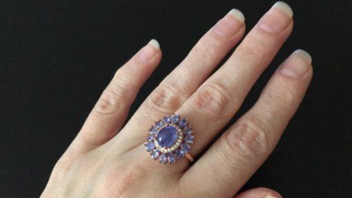 Кольцо с танзанитами в серебре с позолотой
