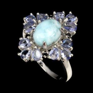 Серебряное кольцо с ларимаром и танзанитами