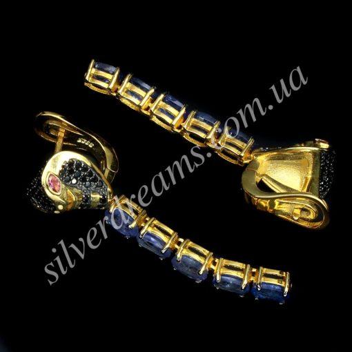 Серебряные серьги с крупными танзанитами