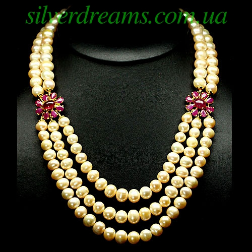 Ожерелье из розового жемчуга с рубином