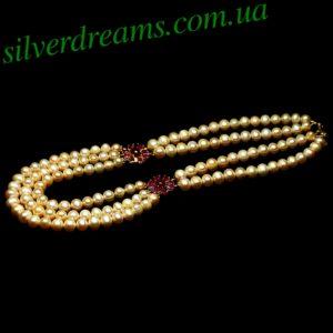 Серебряное ожерелье Розовый Жемчуг & Рубин