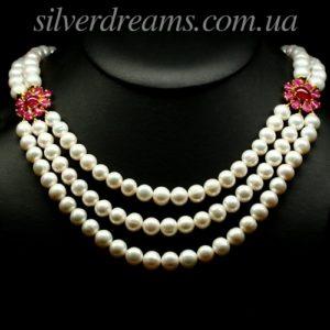 Жемчужно-рубиновое ожерелье в серебре