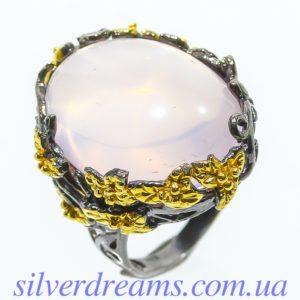 Серебряный перстень с крупным розовым кварцем