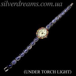 Серебряный браслет-часы с лунным камнем кошачий глаз