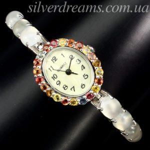 Часы-браслет с лунным камнем кошачий глаз