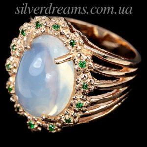 Кольцо с крупным опалом в серебре с позоотой