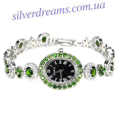 Серебряные часы-браслет с хрмдиопсидом