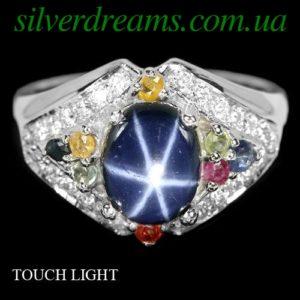 Серебряное кольцо со звёздчатым и сонгеа сапфирами