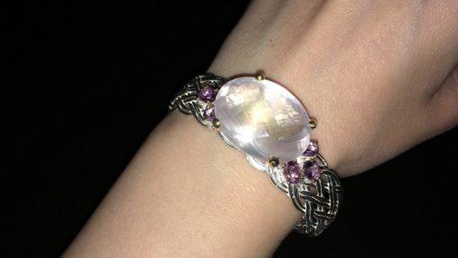Серебряный браслет с крупным розовым кварцем