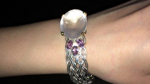 Дизайнерский серебряный браслет с розовым кварцем