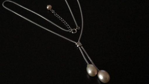 Серебряное колье/цепочка с жемчугом
