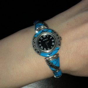 Серебряные часы-браслет с бирюзой
