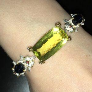 Серебряный браслет Лимонный Кварц & Звёздчатый Сапфир