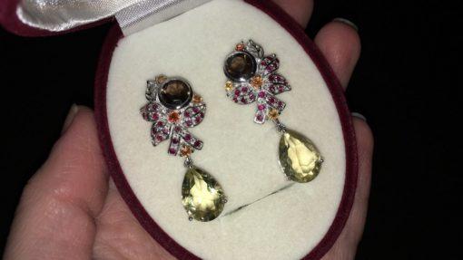 Серебряные серьги Лимонный Кварц & Раухтопаз